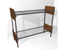 Кровать металлическая двухъярусная со спинками из ЛДСП  Арт.006